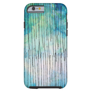 Turquoise Watercolor Doodles Pattern Tough iPhone 6 Case