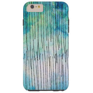 Turquoise Watercolor Doodles Pattern Tough iPhone 6 Plus Case