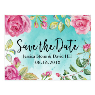 Turquoise Watercolor Floral Wedding Save the Date Postcard
