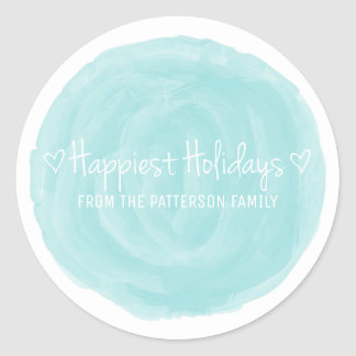 Turquoise Watercolor Happiest Holidays Classic Round Sticker