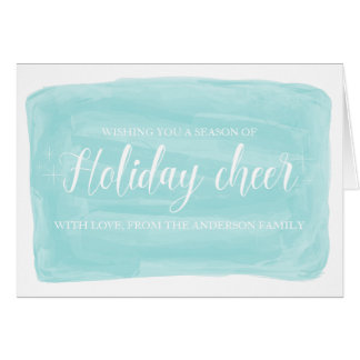 Turquoise Watercolor Holiday Cheer Card