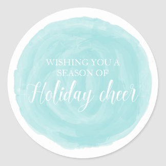 Turquoise Watercolor Holiday Cheer Classic Round Sticker