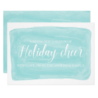 Turquoise Watercolor Holiday Cheer Flat Card