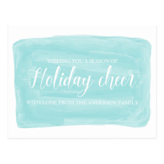 Turquoise Watercolor Holiday Cheer Postcard