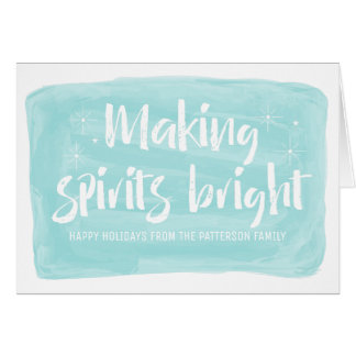 Turquoise Watercolor Making Spirits Bright Holiday Card