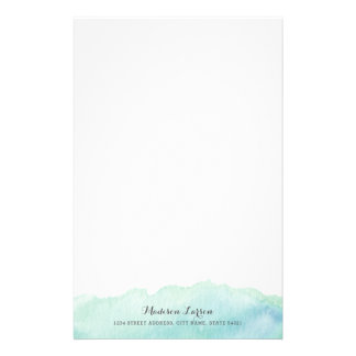 Turquoise Watercolor Personalized Stationery