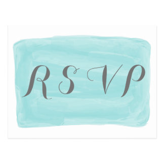 Turquoise Watercolor Response Postcard