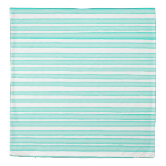 Turquoise watercolor stripes design duvet cover