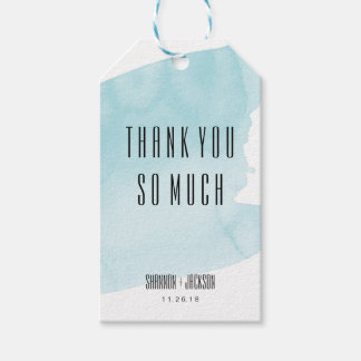 Turquoise Watercolor Wash Wedding Favor Tag
