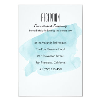 Turquoise Watercolor Wash Wedding Reception Card