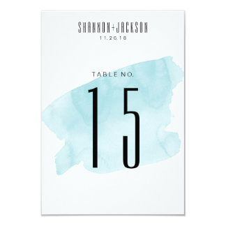 Turquoise Watercolor Wash Wedding Table Numbers Card