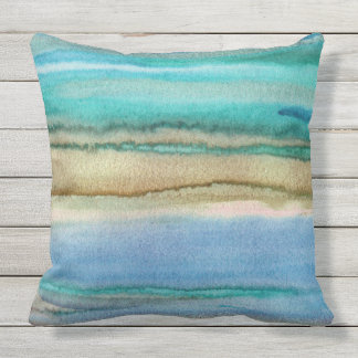 Turquoise Waves Abstract Acrylic Watercolor Pillow