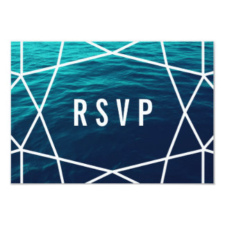 Turquoise Waves Geometric RSVP Card