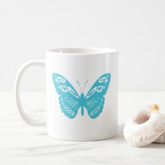 Turquoise Whimsical Butterfly Personalized Mug