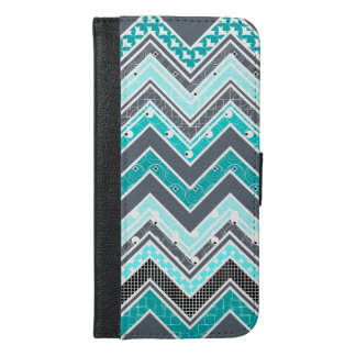 Turquoise, White and black Chevron pattern iPhone 6/6s Plus Wallet Case