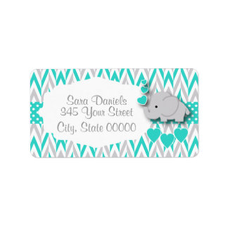 Turquoise, White and Gray Elephant Baby Shower Label
