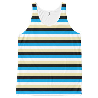Turquoise, White, Beige and Black Stripes All-Over-Print Tank Top