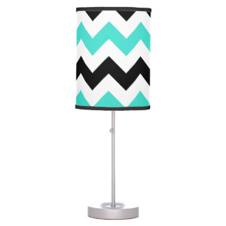 Turquoise White Black Zigzag Table Lamp