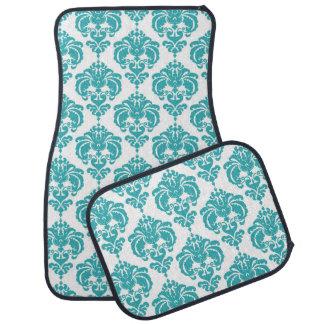 Turquoise White Damask Modern Trendy Pattern Glam Car Mat