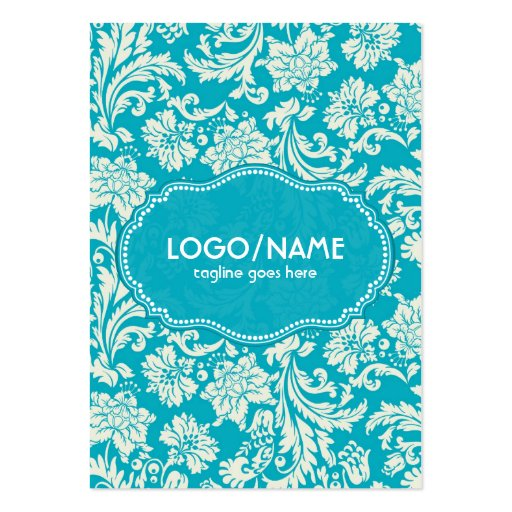Turquoise & White Floral Damasks-Customized Business Card Templates