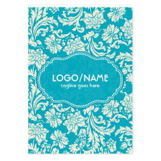 Turquoise & White Floral Damasks-Customized Large Business Card