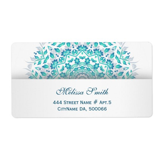 Turquoise White Floral Mandala