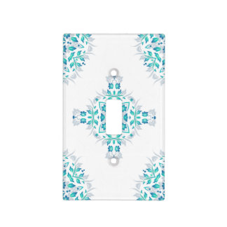 Turquoise White Floral Mandala Geometric Pattern Light Switch Cover