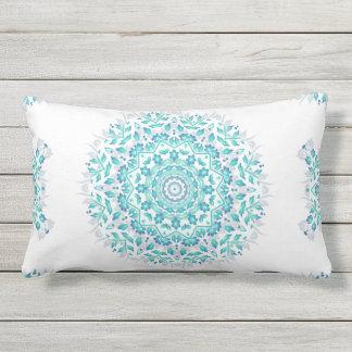 Turquoise White Floral Mandala Geometric Pattern Outdoor Pillow