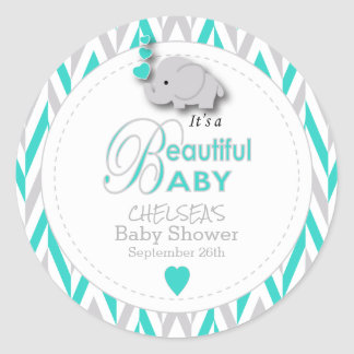 Turquoise, White Gray Elephant Baby Shower Classic Round Sticker