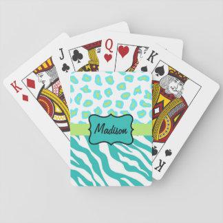Turquoise White Green Zebra Leopard Skin Monogram Deck Of Cards