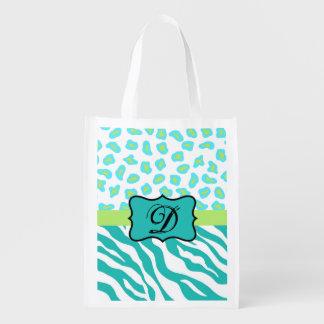 Turquoise White Green Zebra Leopard Skin Monogram Grocery Bags