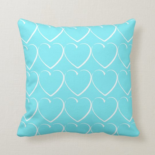 Turquoise White Hearts Throw Pillow