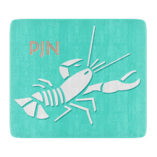 Turquoise & White Lobster Print Chopping Board