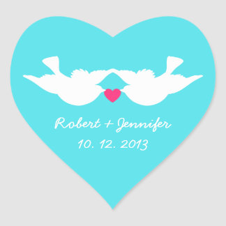 Turquoise White Love Birds Silhouette Heart Sticker