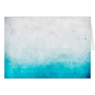 Turquoise & White Ombre Distressed Watercolor Card