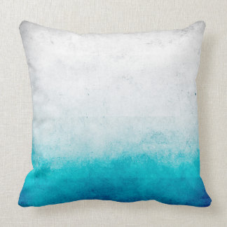 Turquoise & White Ombre Distressed Watercolor Throw Pillow