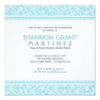 Turquoise & White Ornate Lace-Elegant Grad Invite