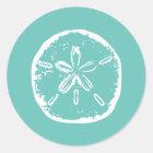 Turquoise white Sand dollar beach wedding stickers