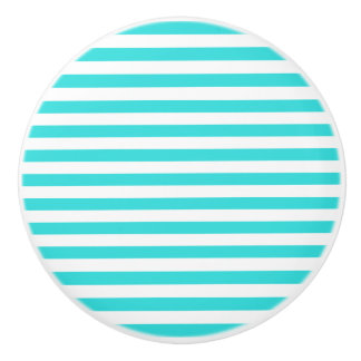 Turquoise & White Stripes Ceramic Knob