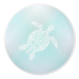 Turquoise White  Turtle Ceramic Knob