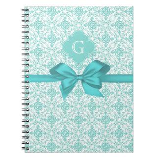 Turquoise Wht Damask #2 Turquoise Label Bow Notebook