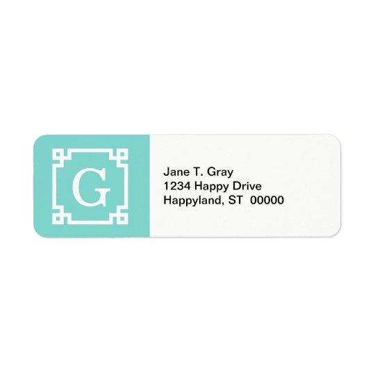 Turquoise Wht Greek Key Frame #2 Initial Monogram Return Address Label