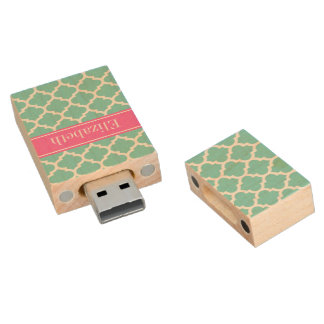 Turquoise Wht Moroccan #5 Hot Pink2 Name Monogram Wood USB 2.0 Flash Drive