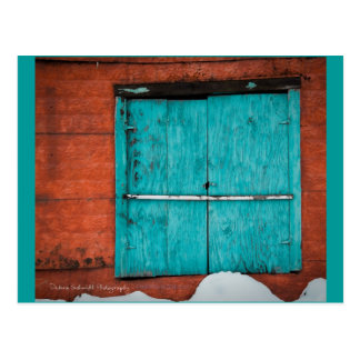 Turquoise Window in New Mexico winter. Postcard