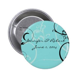 Turquoise with Black Swirl Flourish Embellishment 2 Inch Round Button