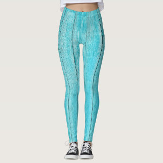Turquoise Wood Texture Leggings
