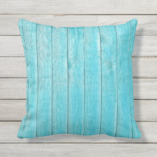 Turquoise Wood Texture Outdoor Throw Pillow