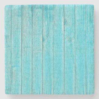 Turquoise Wood Texture Stone Beverage Coaster