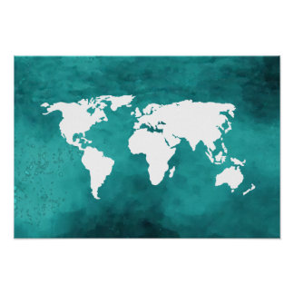 turquoise world map poster
