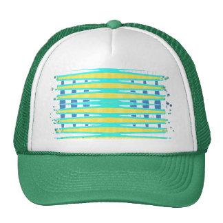 turquoise yellow abstract art trucker hat